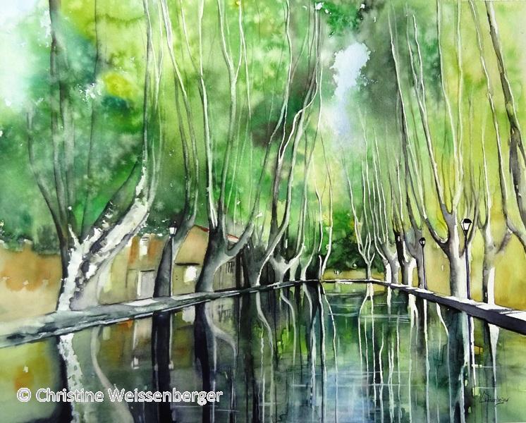 Bassin de l'étang de Cucuron en Provence